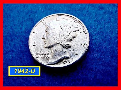 """1942-D Mercury Dime ★ Extreemly Nice """"AU-53"""" Coin ★ (#3473)a"""
