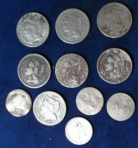 (11) 3 Cent Pieces, (7) Nickel and (3) Silver