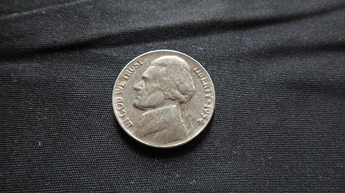 "1954 JEFFERSON NICKEL ""STRUCK THROUGH GREASE"" ERROR"