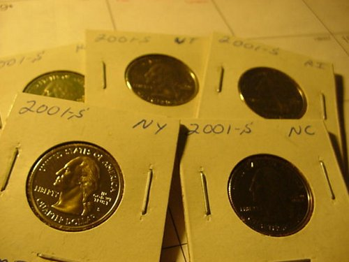 5-proof quarters 2001s clad all 5 states