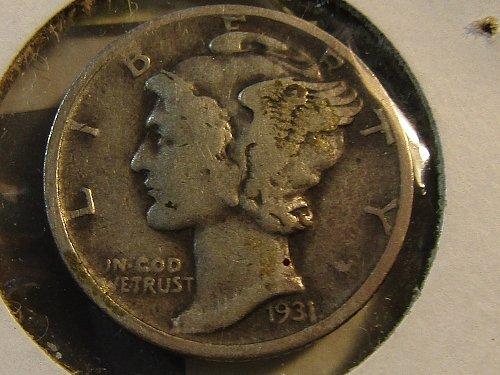 1931-D Silver Mercury Dime Semi-Key