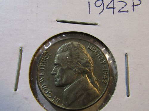 1942-P Wartime SIILVER Jefferson Nickel 35% Silver