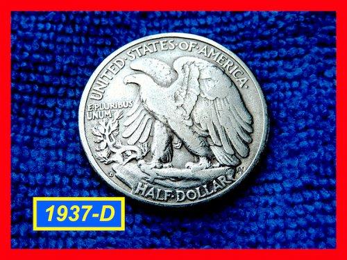 """1937-D  Liberty Walking Half  ★ """"VF""""   (#1801)a"""