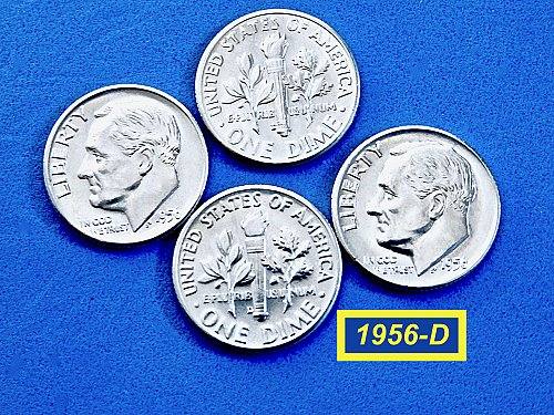 "1956-D Roosevelt Dimes  ✬ ""BU"" with Flashy Luster ★  (#3640)a"