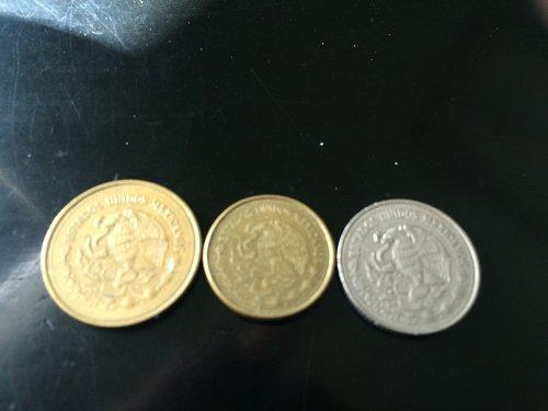 3 MEXICO COINS, $100 PESOS, $500 PESOS AND $1000 PESOS.
