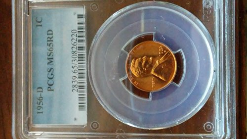 1956-d pcgs ms65rd wheat penny