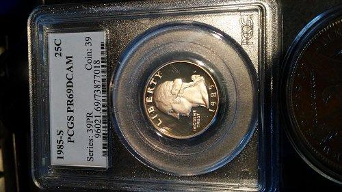 1985-s pcgs pr69dcam proof quarter