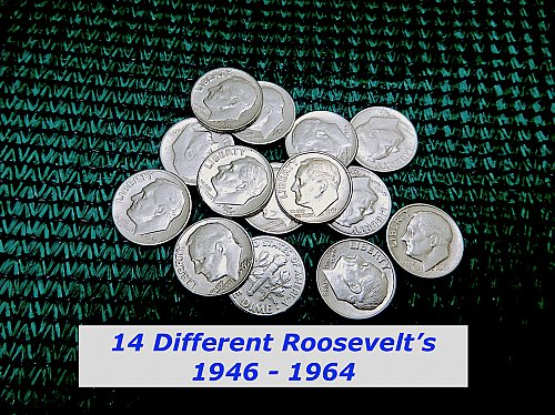 1946-1964 – LOT of 14 FDR Silver Dimes  – 10 Different DATES   (#3646)a