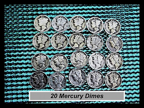 TWENTY Different  Mercury Dimes •• 1917—1943 (#3467)a