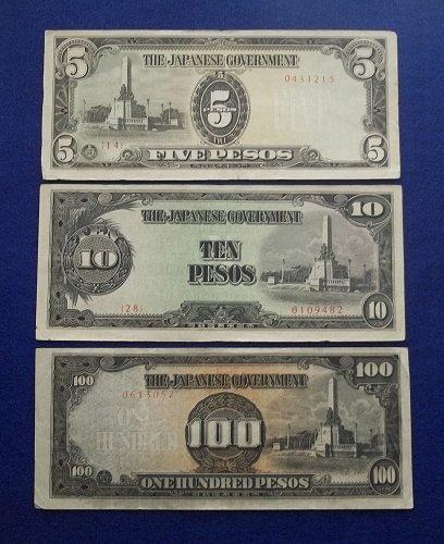 PHILIPPINES/JAPAN WW2 3 PIECE SET WORLD PAPER MONEY