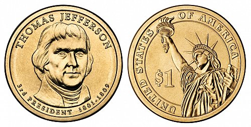 2007 P Presidential Dollars: Thomas Jefferson