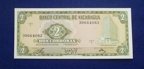 NICARAGUA 1972 2 CORDOBAS WORLD PAPER MONEY UNC CONDITION NOTE!