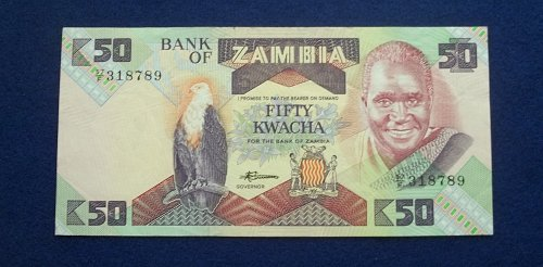 ZAMBIA (ND) 1988 50 KWATCHA WORLD PAPER MONEY