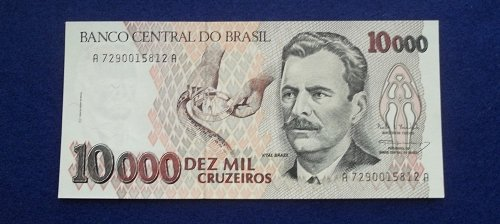 BRAZIL 1993 10,000 CURZEIROS  WORLD PAPER MONEY UNC CONDITION NOTE!