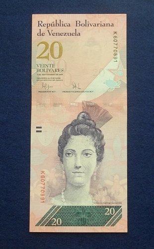 VENEZUELA 2009 20 BOLIVARES WORLD PAPER MONEY UNC CONDITION NOTE!