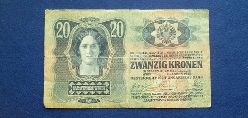 AUSTRIA 1913 20 KRONEN WORLD PAPER MONEY