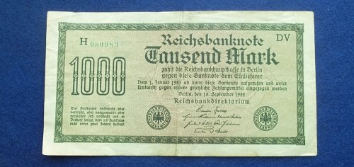 GERMANY 1922 1000 MARKS WORLD PAPER MONEY