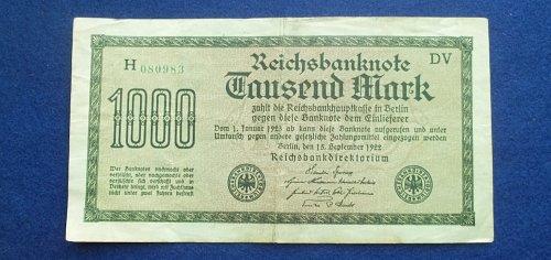 GERMANY 1922 1000 MARKS WORLD PAPER MONEY