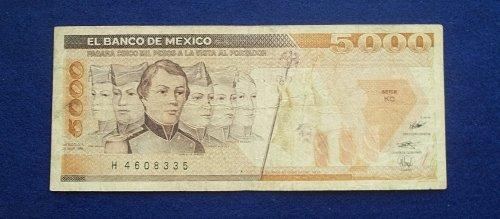 MEXICO 1989 5000 PESOS WORLD PAPER MONEY