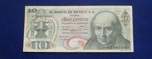 MEXICO 1969 10 PESOS WORLD PAPER MONEY