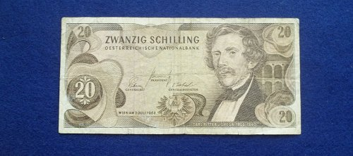 AUSTRIA 1967 20 SHILLING WORLD PAPER MONEY
