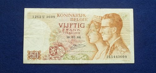 BELGIUM 1966 50 FRANCS WORLD PAPER MONEY