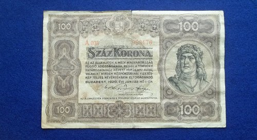 HUNGARY 1920 100 KRONA WORLD PAPER MONEY