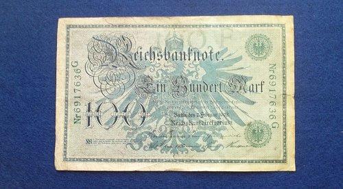 GERMANY 1908 100 MARKS WORLD PAPER MONEY