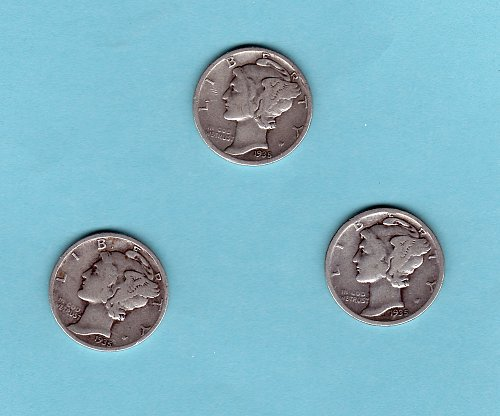 (3)1935 Mercury dimes 1935  P-D-S