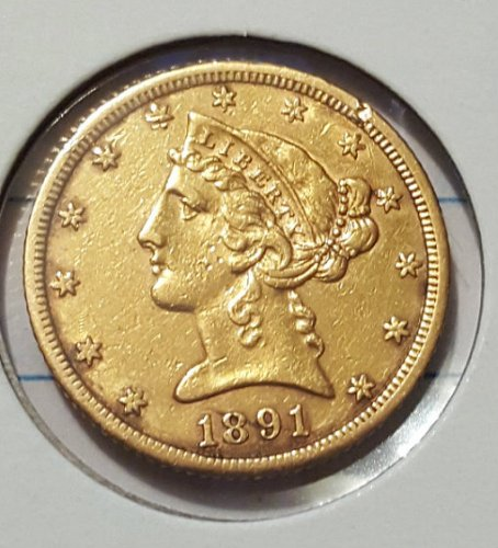 1891 CC Five Dollar Gold