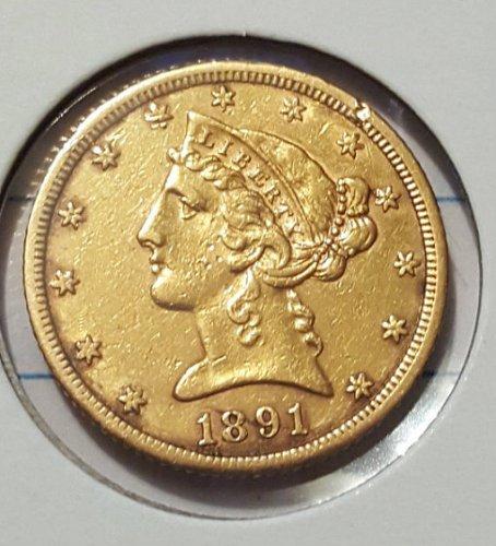 1891 CC Five Dollar Gold