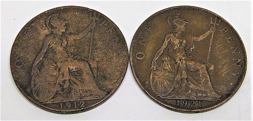 1912 GREAT BRITAIN ONE PENNY & 1921 GREAT BRITAIN ONE PENNY