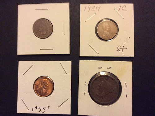 1854 Braided Hair Liberty Head Large cent,1900 Indian,1937 wheat, 1955-S wheat
