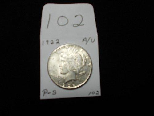 1922 PEACE 90 %  SILVER DOLLAR  A/U  # 102
