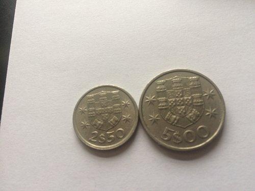 2 - PORTUGESA COINS, 2$50 & 5$00