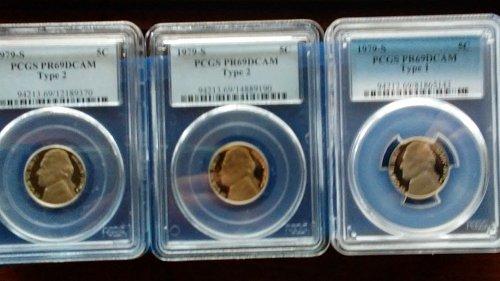 (3) 1979-s pcgs pr69dcam proof nickels