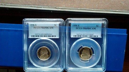 (2) 1998-s pcgs pr69dcam proof nickels