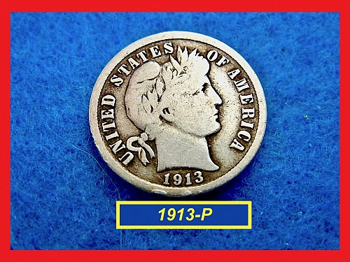 1913-P   BARBER DIME ☆  CIRCULATED ☆    (#3502)a