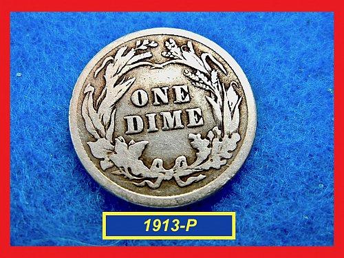 1913-P   BARBER DIME ☆  CIRCULATED ☆    (#3502)a