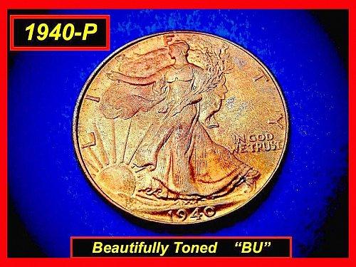 "1940-P Walking Liberty ★ MONSTER Toned ★ ""MS-65"" BU ★ (#1412)a"