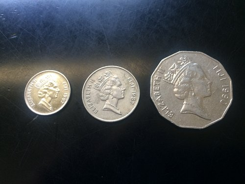3 - COINS, FIJI, 5 CENT, 10 CENT AND 50 CENTS.