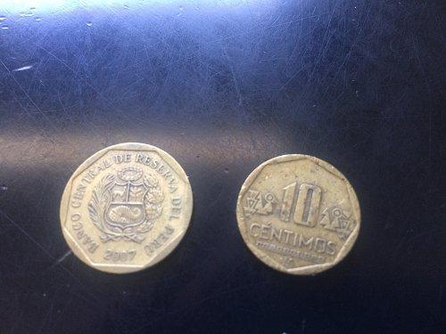 2 COINS PERU, 10 CENTIMOS AND 20 CENTIMOS.