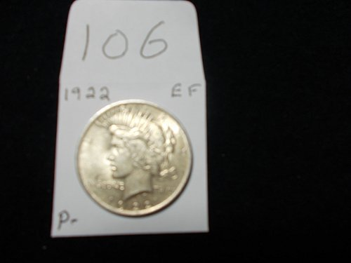 1922  PEACE 90 % silver dollar  X / FINE SEE DETAILS NICE COIN # 106