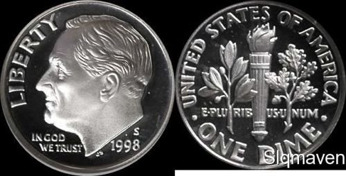 3-proof 1998s 1ea.penny,nickel and silver dime