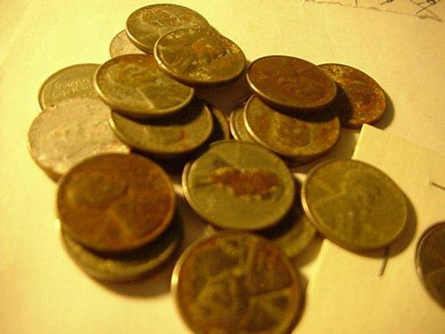 20 old used steel pennys