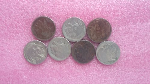 7 faint or no date buffalo nickels