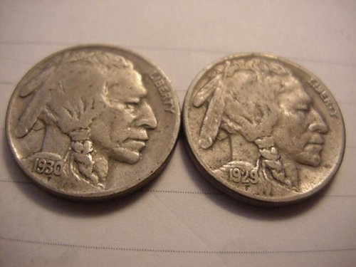 1-each 1929s and 1930s buffalo nickels