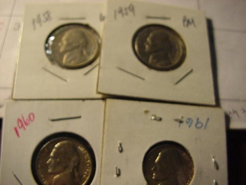 4-real nice nickels 1958,59,60,61