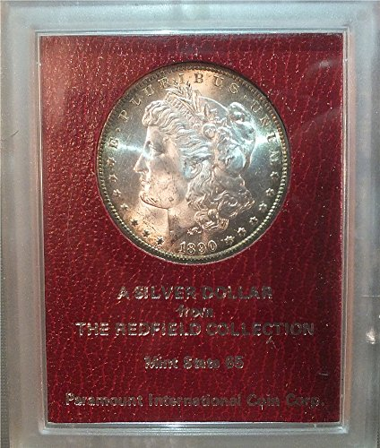 MORGAN DOLLAR, REDFIELD HOARD 1890 S HIGH GRADE COIN IN OLD RED PCI HOLDER.