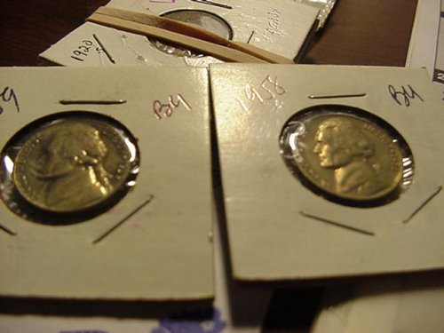 2-nickels 1958 and 1959